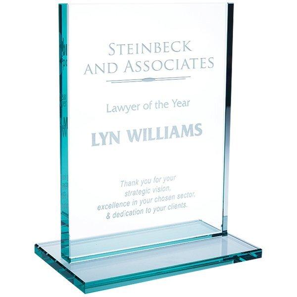 """Vertical Jade Glass Award, 8-3/8"""""""