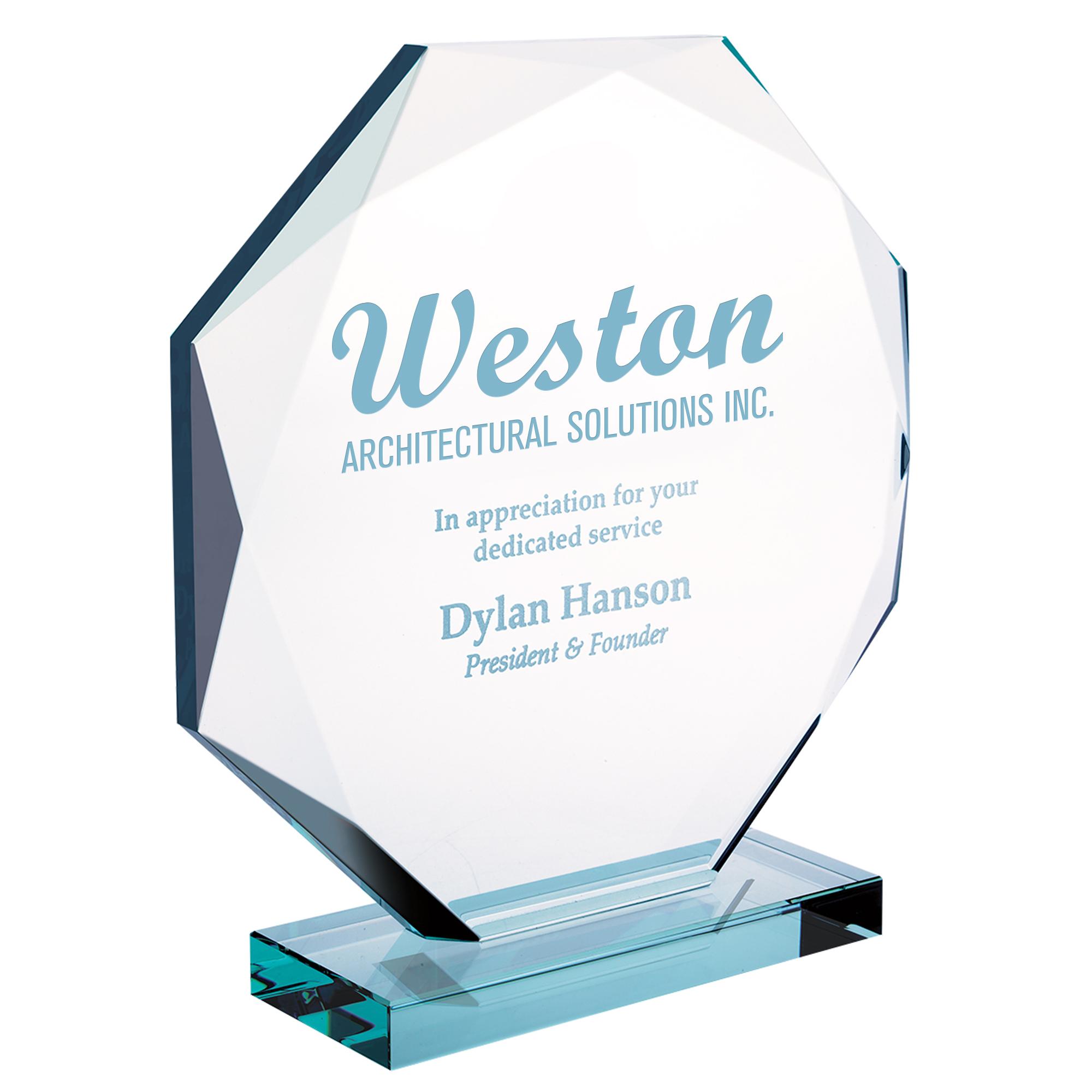 """Octagon Jade Glass Award, Medium,7-1/2"""""""