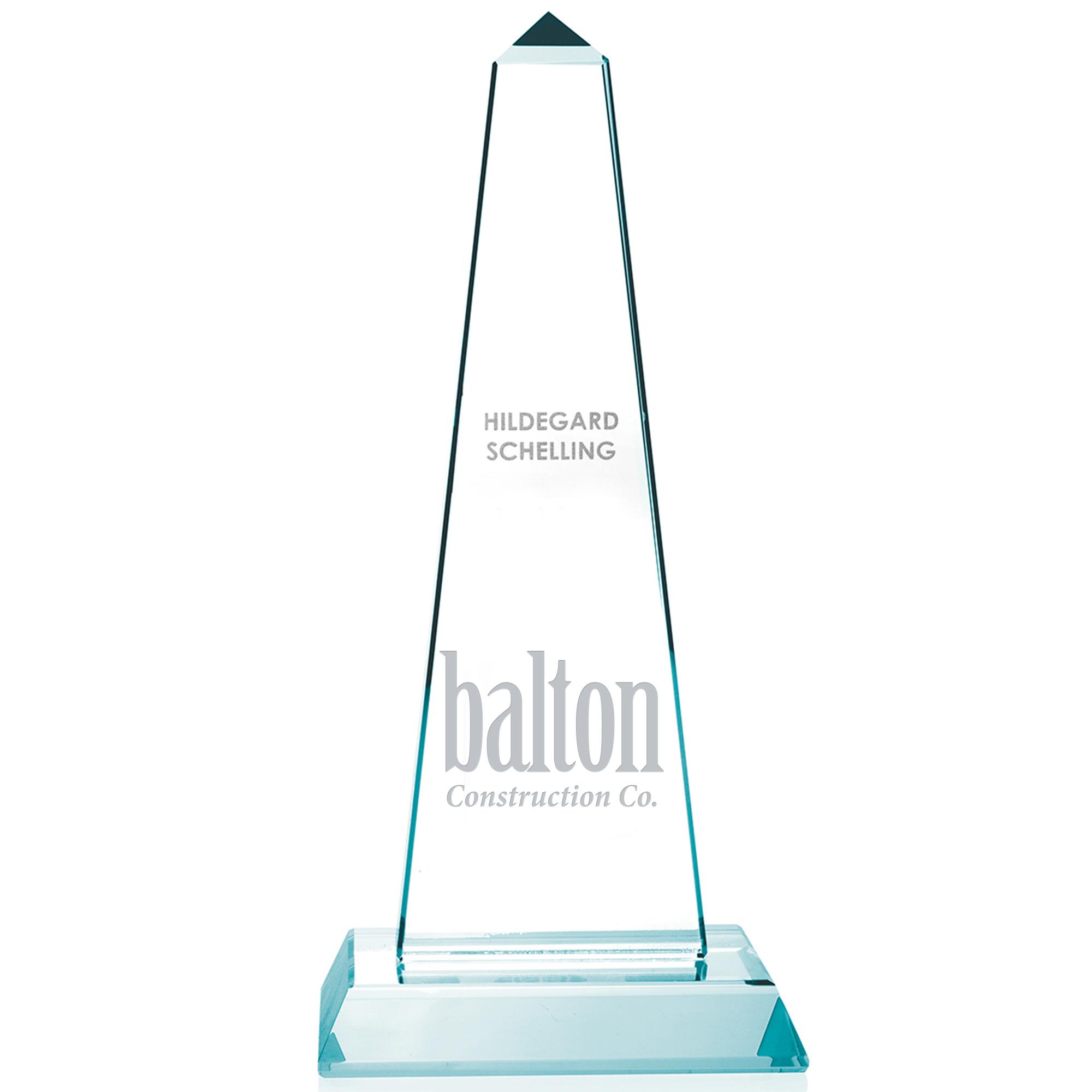 "Mammoth Tower Jade Glass Award, Small, 9"""