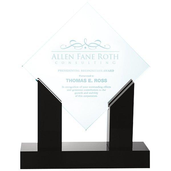 "Diamond Jade Glass Award with Black Marble Base, 10-1/2"""