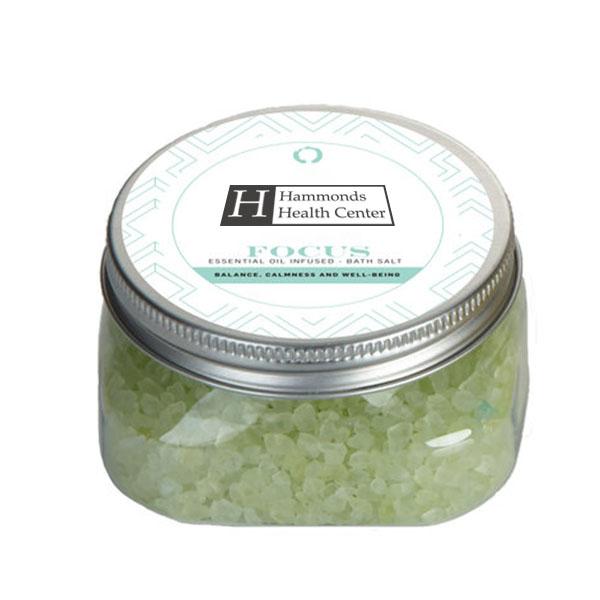 Focus Essential Oil Infused Bath Salts in Square Jar, 5.3oz.