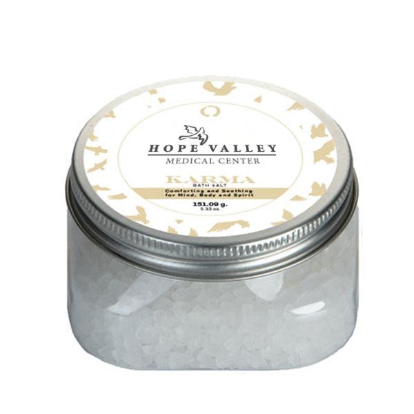 Karma Essential Oil Infused Bath Salts in Square Jar, 5.3oz.