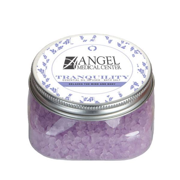 Tranquility Essential Oil Infused Bath Salts in Square Jar, 5.3oz.