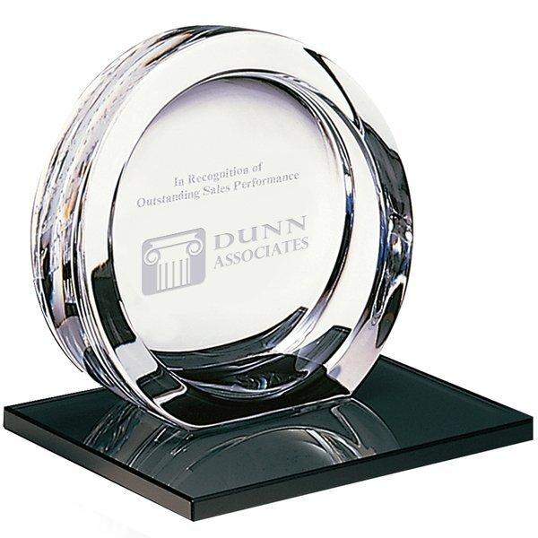 "Mario Cioni® High Tech 24% Full Lead Crystal Award on Glass Base, Medium, 5-1/2"""