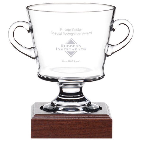 Nantucket Cup Glass Award with Wood Base, 9-9/16""