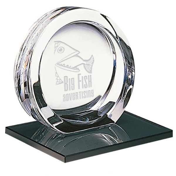 "Mario Cioni® High Tech 24% Full Lead Crystal Award on Glass Base, Large, 6-1/2"""