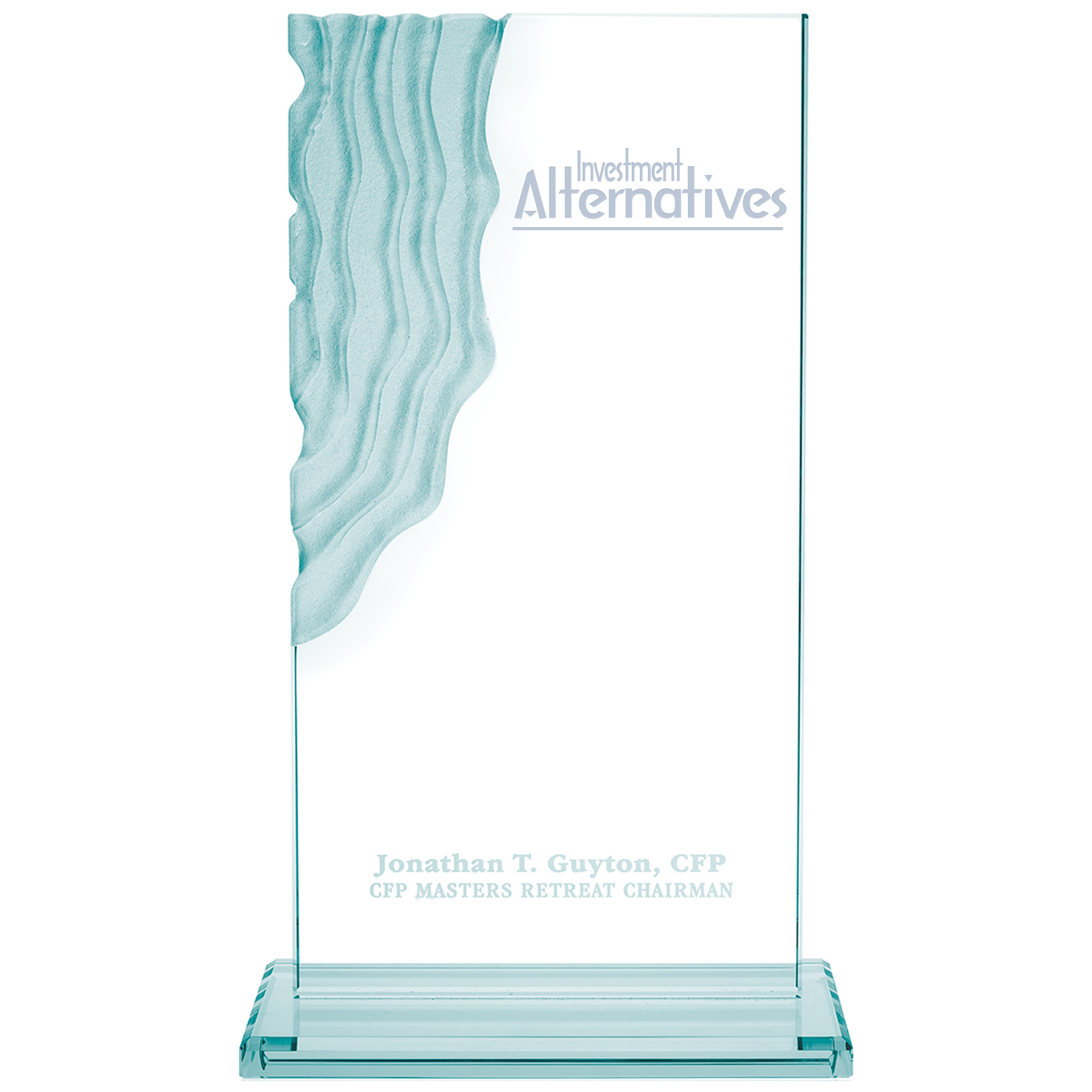 Sculpted Waterfall Jade Glass Award, 12-1/2""