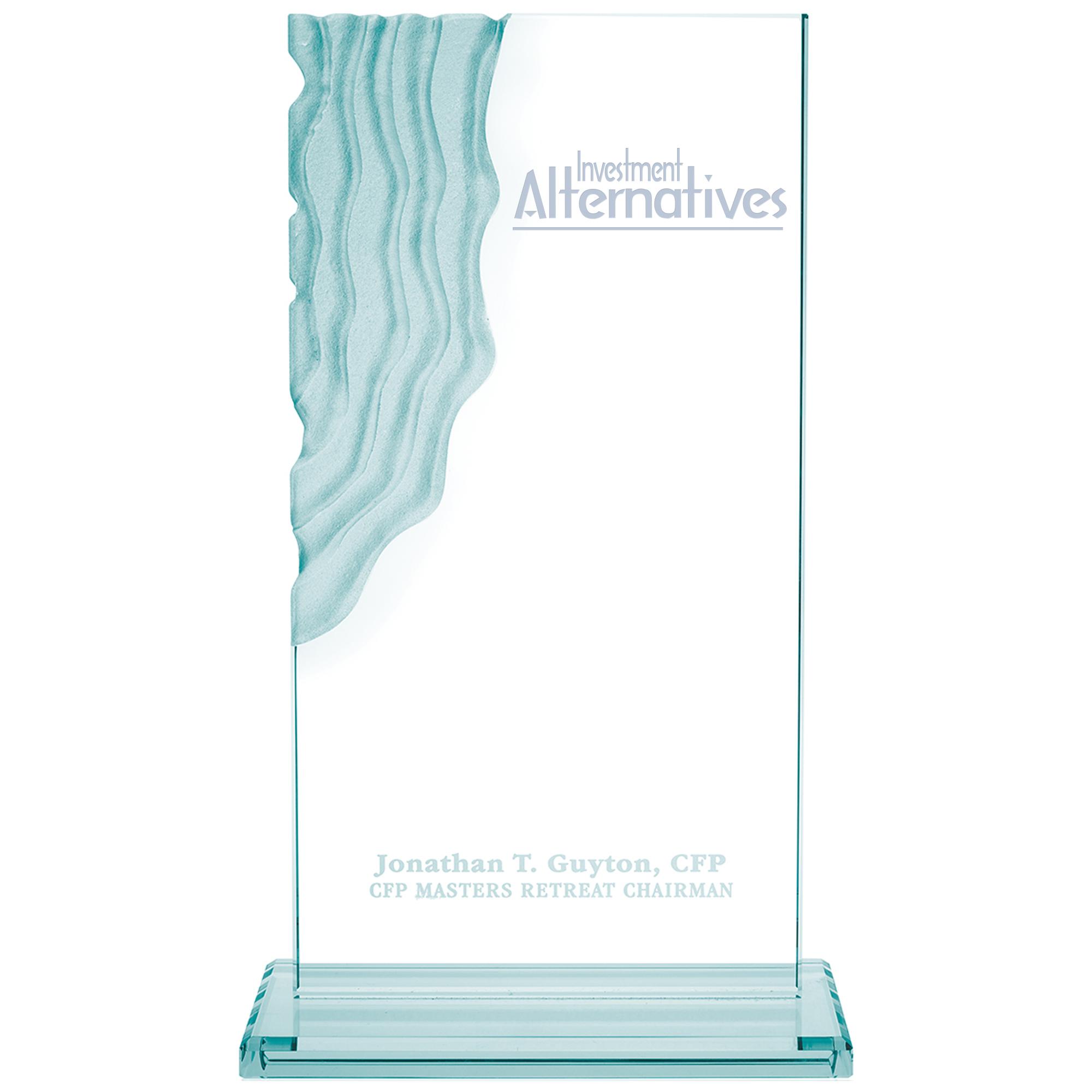 """Sculpted Waterfall Jade Glass Award, 12-1/2"""""""