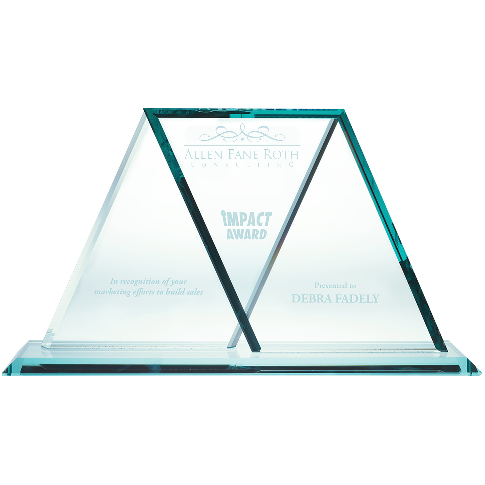 Wings Crossing Jade Glass Award, 7-3/4""