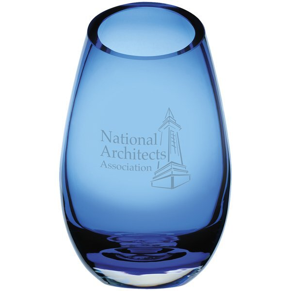 Cairo Blue Glass Vase, 9""