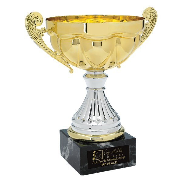 Scalloped Steel Award Trophy, Small, 8""