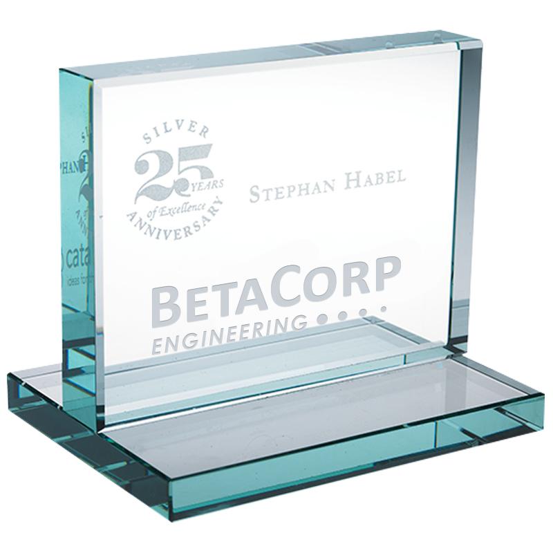"""Horizontal Jade Glass Award, 3-3/8"""""""