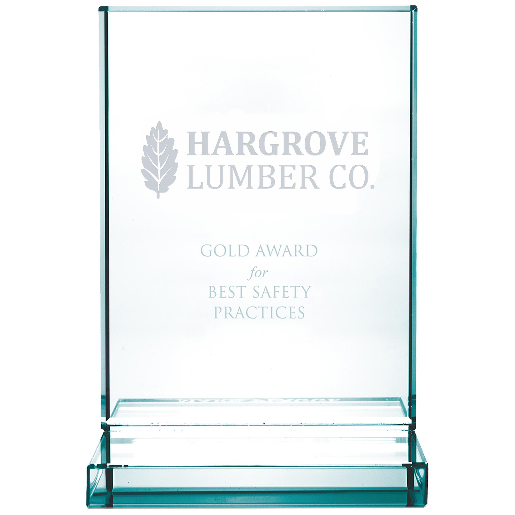 """Vertical Jade Glass Award, 4-3/8"""""""