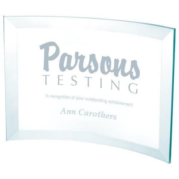 "Jade Glass Crystal Scroll Award, Medium, 5"""
