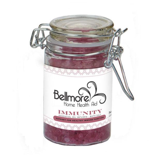 Immunity Essential Oil Infused Bath Salts in Glass Wire Bale Jar, 2.73oz.
