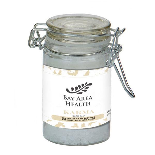 Karma Essential Oil Infused Bath Salts in Glass Wire Bale Jar, 2.73oz.