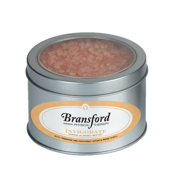 Invigorate Essential Oil Infused Bath Salts in Large Window Tin, 16.39oz.