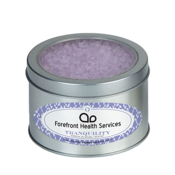 Tranquility Essential Oil Infused Bath Salts in Large Window Tin, 16.39oz.