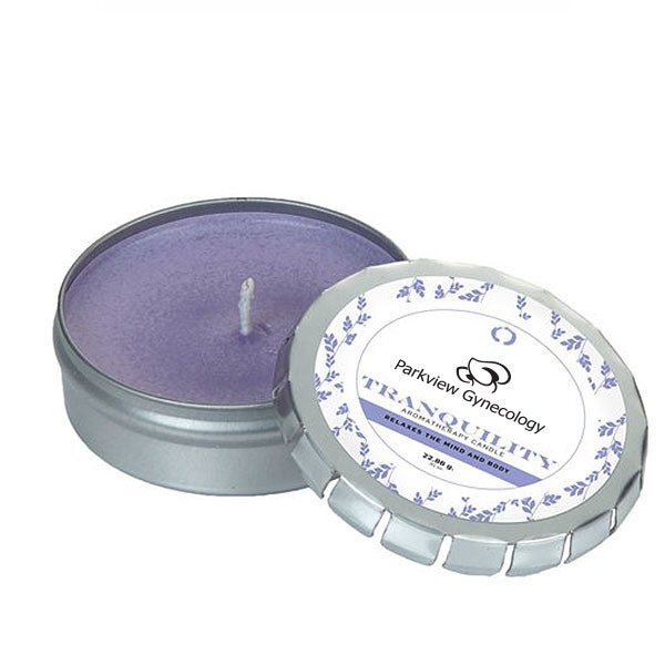 Tranquility Essential Oil Infused Soy Candle in Large Travel Tin, .81oz.