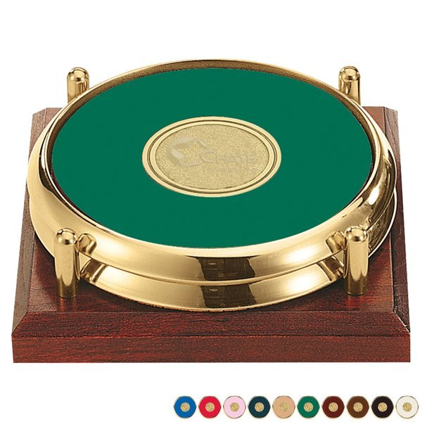 Two-Piece Round Medallion Leather Coaster Set with Cherry Tray