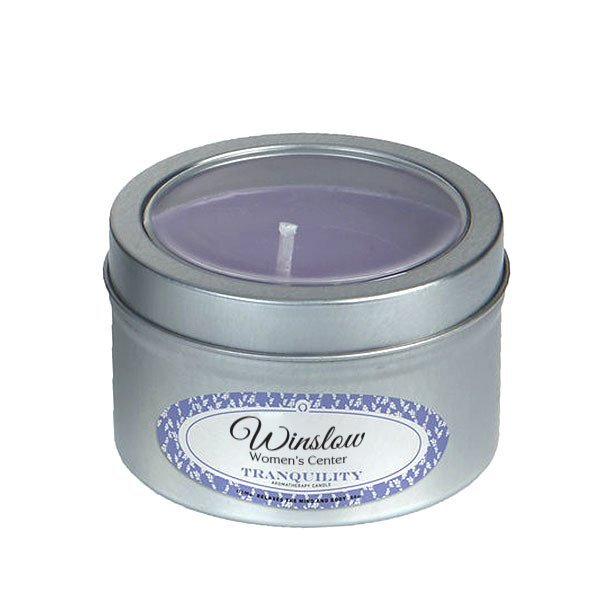 Tranquility Essential Oil Infused Soy Candle in Small Window Tin, 4oz., Full Color Imprint