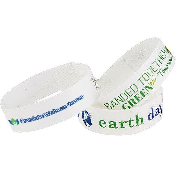 Premium Seed Paper Wristband Bracelet w/ Full Color Imprint