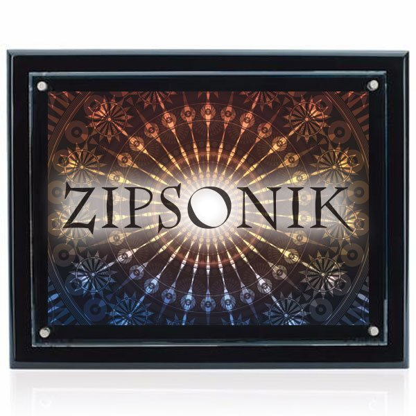 "Floating Glass Award Plaque, Full Color Imprint, 13"" x 15-1/2"""