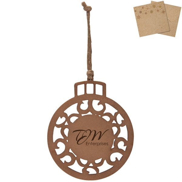 Wood Round Ornament w/ Kraft Gift Envelope