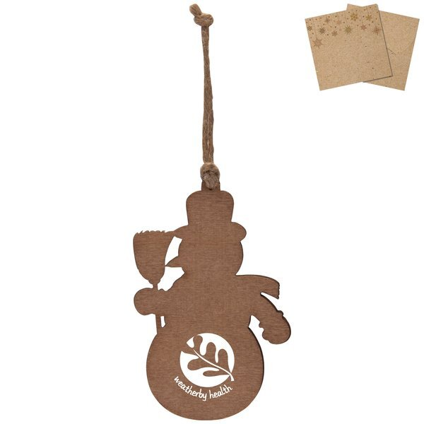Wood Snowman Ornament w/ Kraft Gift Envelope