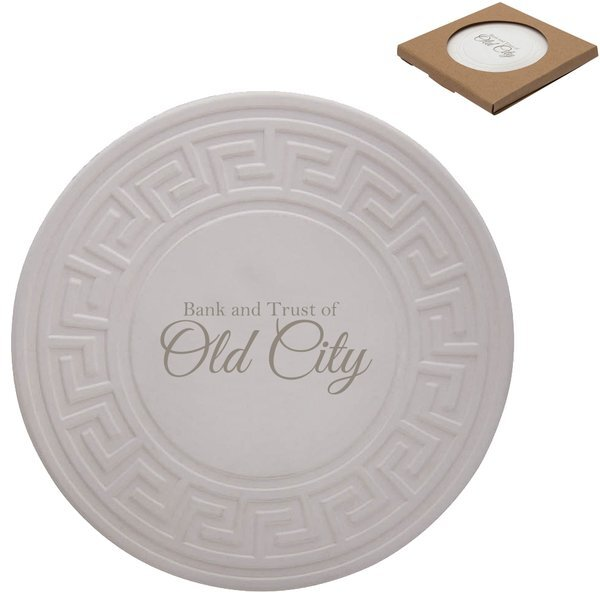 Greek Key Round Absorbent Stone Coaster Health