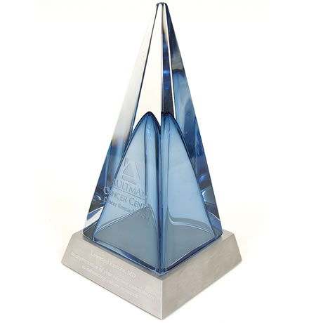 Blue Pyramid Art Glass Award, Large, 12-3/4""