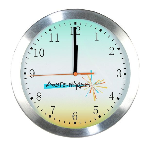 """Glass Wall Clock with Aluminum Frame w/ Full Color Imprint, 10"""""""