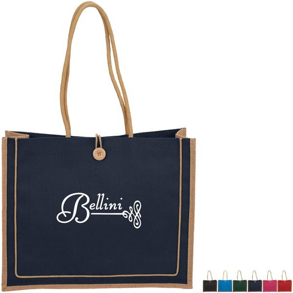 Jute Button Closure Tote Bag