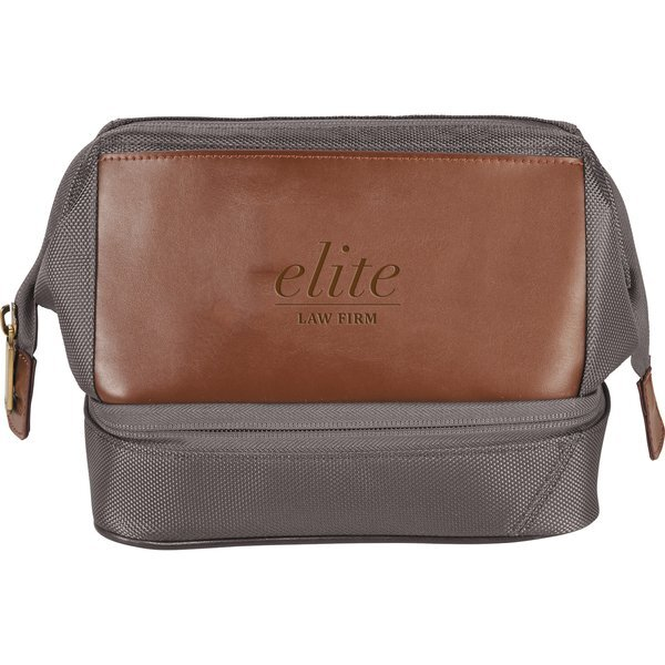 Cutter & Buck® Bainbridge Leather & Polyester Dopp Kit