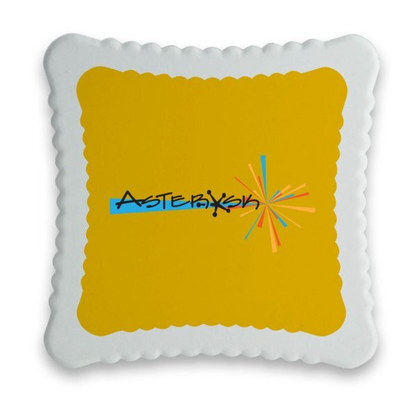 Absorbent Square Ribbed Ceramic Coaster w/ Full Color Imprint