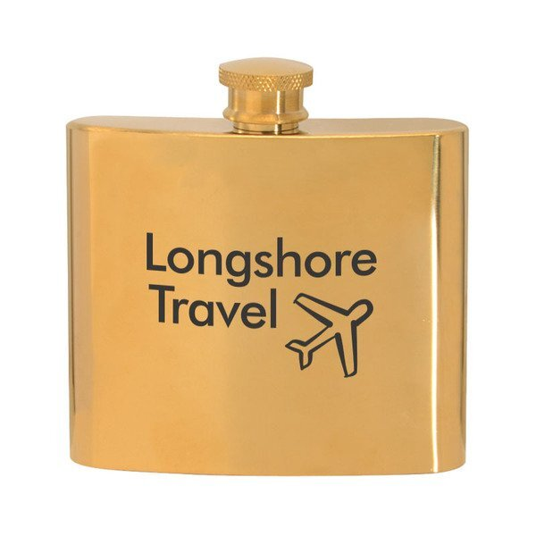 Gold Plated Stainless Steel Hip Flask, 5oz.