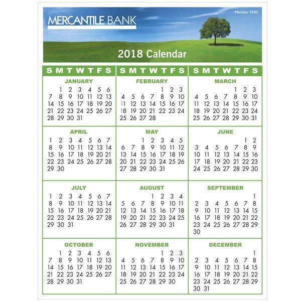 "Repositionable Adhesive Wall Calendar, 8-1/2"" x 11"""