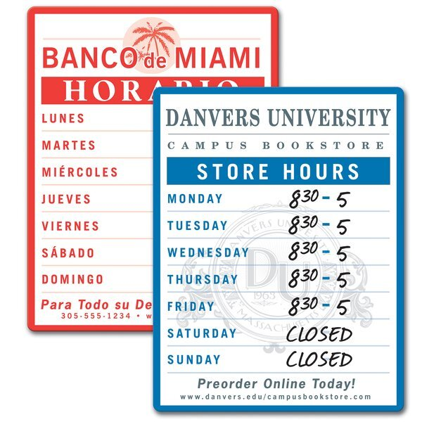 """Dry Erase Store Hour Sign, 8-1/2"""" x 11"""""""