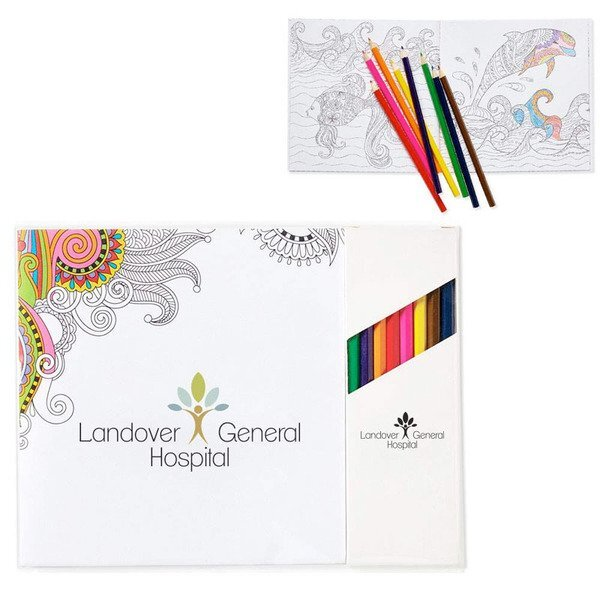 Deluxe Adult Coloring Book & 8-Piece Color Pencil Set