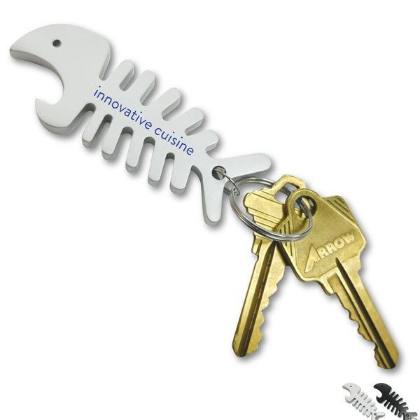 Big Fish Bone Bottle Opener & Cord Winder Key Chain