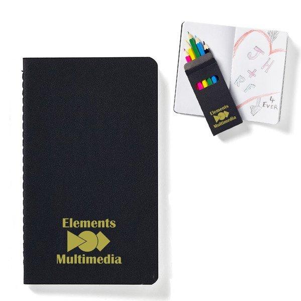 Black Mini Notebook & 6-Piece Color Pencil Set