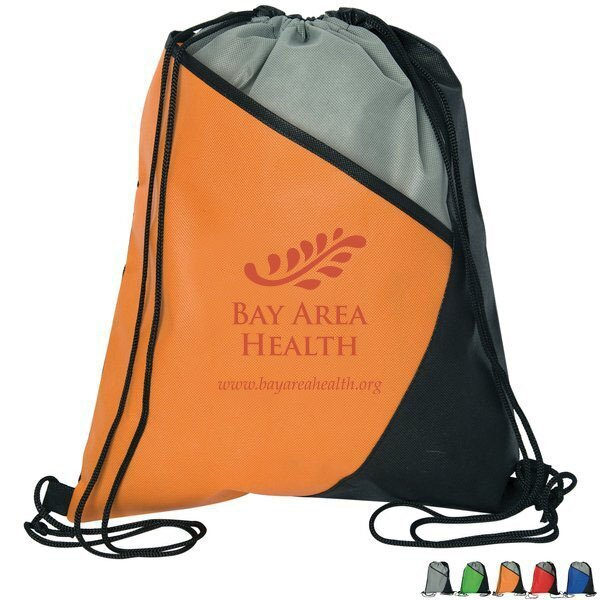 Colorblock Non-Woven Drawstring Cinch Bag