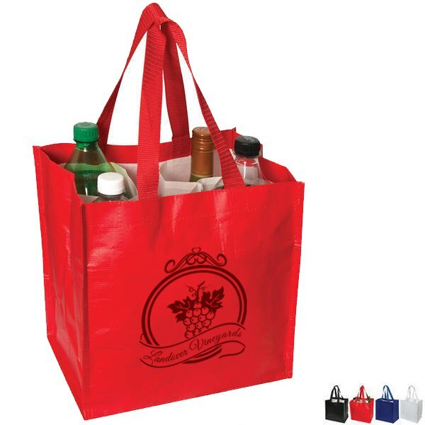 """Laminated Grocery Tote w/ Bottle Compartments, 11"""" x 11"""""""