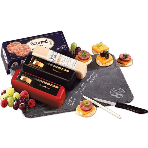Genuine Slate Serving Plate with Wisconsin Cheese & Sausage Gift Set