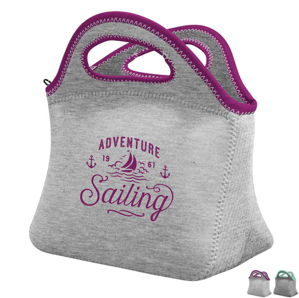 Klutch Heathered Jersey Knit Neoprene Lunch Bag - Free Set Up Charges!