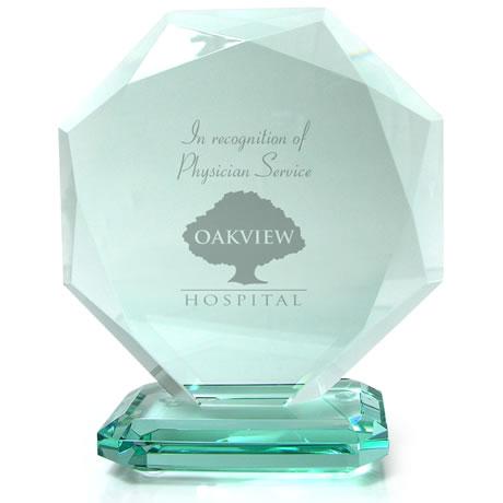 """Ottoman Octagon Jade Crystal Award, 6-1/4"""""""