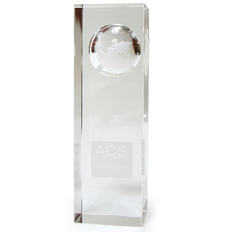 Atlas Pillar Crystal Award, Large, 5""