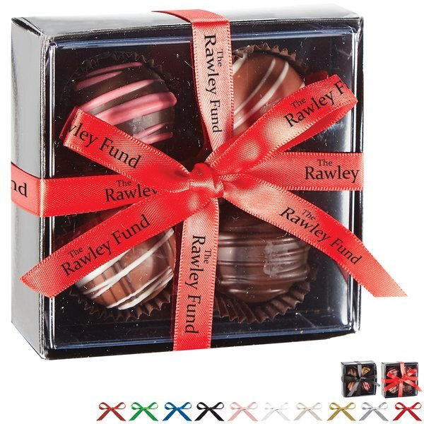 Decadent 4 Piece Truffle Box w/ Custom Imprint Bow