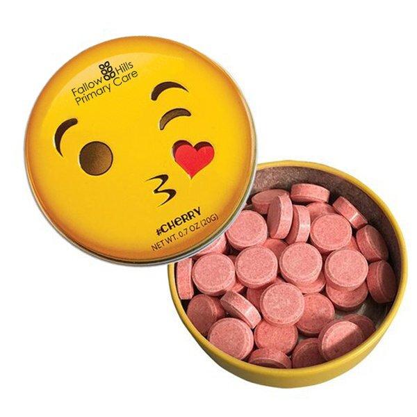 Emoji Kissy Face Mint Tin with Cherry Mints