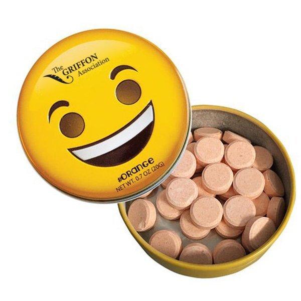 Emoji Smiley Face Tin with Orange Mints